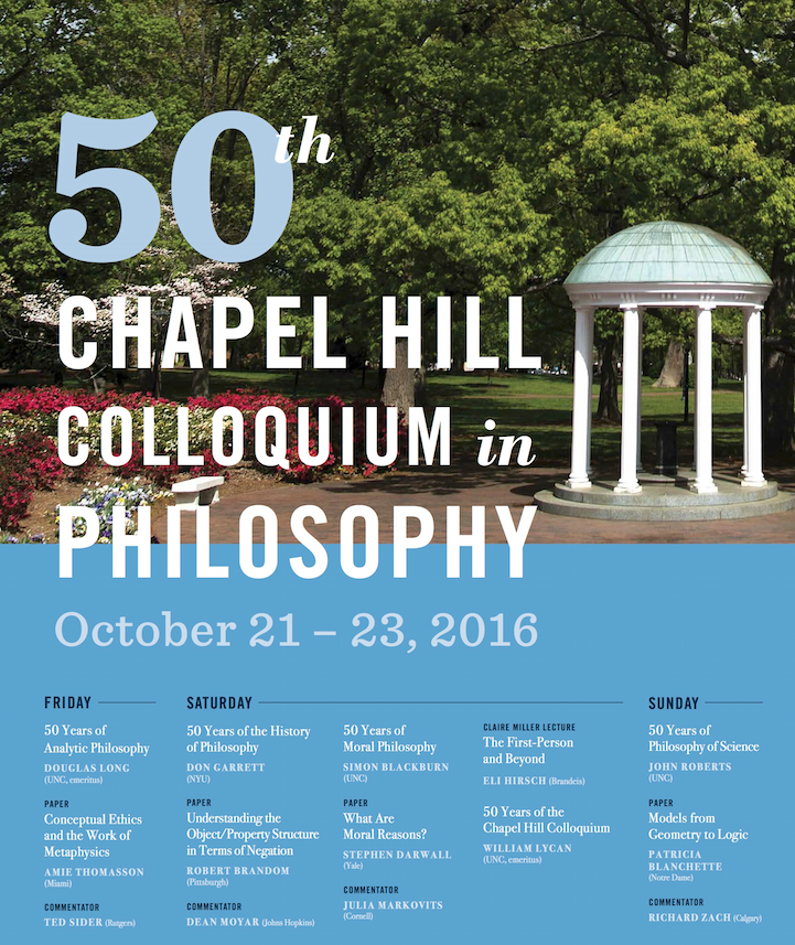 50th Chapel Hill Colloquium in Philosophy - Department of Philosophy